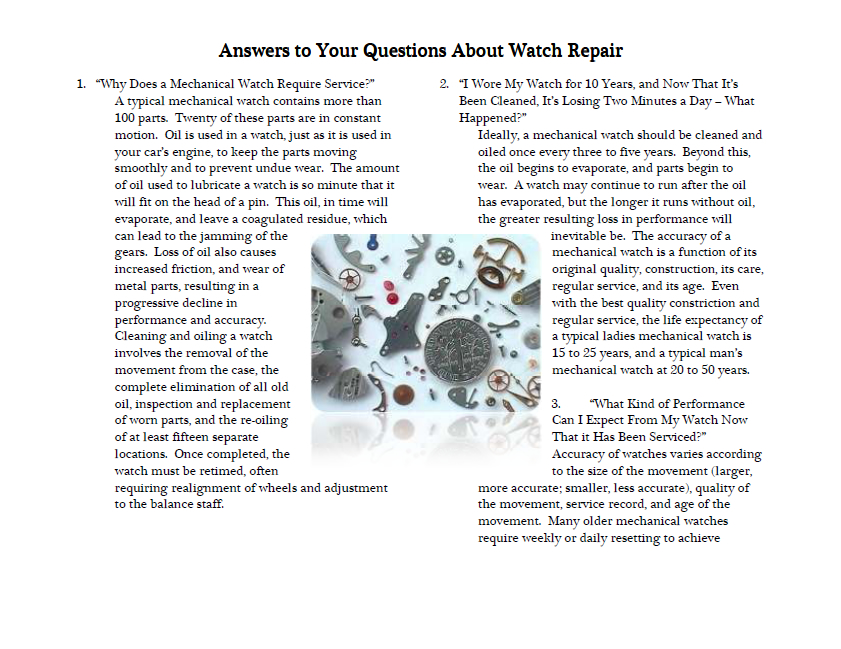 Answers to Your Questions About Watch Repair